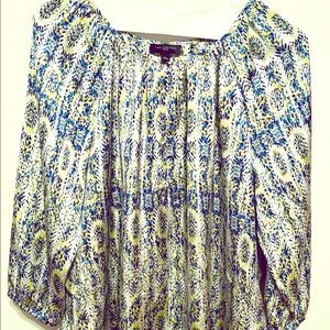 The Limited blue and yellow blouse